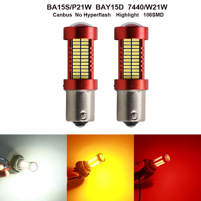 White/<font><b>Red</b></font> Car BAY15D P21/5W 1157 CANBus <font><b>LED</b></font> Lamp For Citroen C5 C4 C3 Mini Cooper Opel Astra H G J Vectra C Brake Reverse Lights image