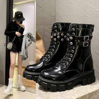 Platform Patent Leather Boots New Rivet Women Autumn Punk Motorcycle Boots Block Heel Gothic Platform Shoes Women Ankle Boots punk boots women pumps winter autumn shoes women black boots high heels motorcycle women ankle boots white platform boots d244