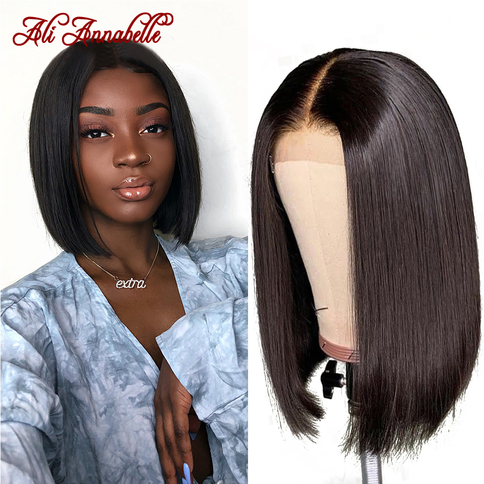 Brazilian Straight Lace Front Human Hair Wigs Short Bob Wig With Baby Hair Natural Hairline Lace Wig Full End Remy Hair