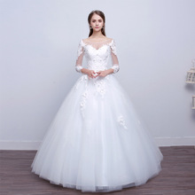 Suknie ślubne luksusowe suknie ślubne w stylu suknie balowe koronkowe suknie ślubne Bridage tanie tanio Lifeglad O-neck Długość podłogi NONE Pełna Lace up Matte Satin Aplikacje Haft Kwiatowy Print LFxs635 Księżniczka