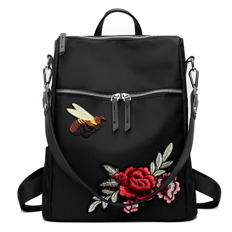 New Girls Embroidery Backpack Nylon Ethnic Style Fashion Flower Color Embroidered Backpack