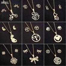 Smjel Collier Femme Stainless Steel Jewelry Set Gold Chain Love Heart Mama Mom Pendant Necklaces Earing Pregnant Mother's Day(China)