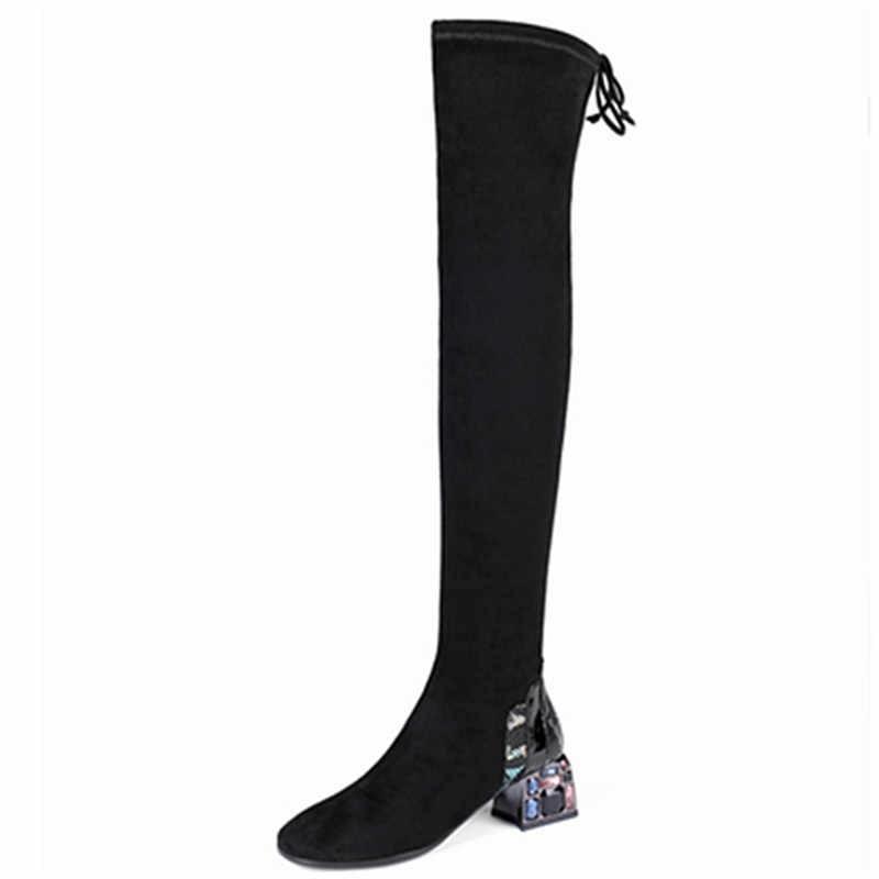 FEDONAS femmes strass talons hauts chaussures de fête femme hiver bottes d'équitation Slim bottes extensibles femmes sur le genou bottes hautes