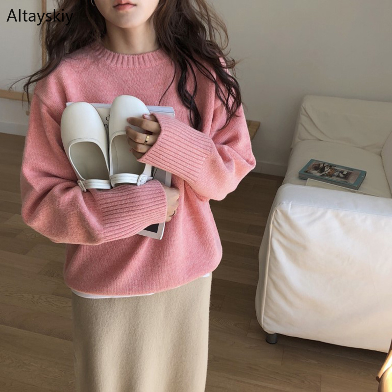 Pullovers Women Solid Soft Loose Simple Korean Style Candy Color Sweet Daily O-Neck Pullover Womens Trendy All-match Sweaters