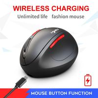T31 2.4G wireless mouse rechargeable 7 button vertical mouse USB ergonomics game office PC notebook for peripheral black