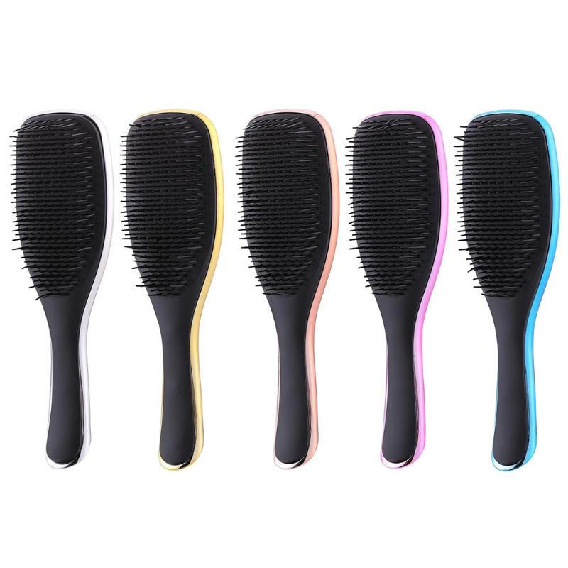 Electroplate Anti-static Hair Brush ABS TPE Electroplate Hair Loss New Design Massage Comb Shower Wet Detangle Hair Brush