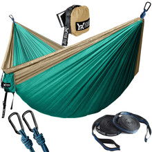 Portable Hammock Double Person Nylon Camping Hammock Survival Garden Hanging Sleeping Chair Travel Furniture Parachute Hammocks