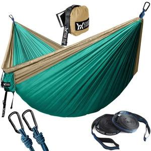 Image 1 - Portable Hammock Double Person Nylon Camping Hammock Survival Garden Hanging Sleeping Chair Travel Furniture Parachute Hammocks