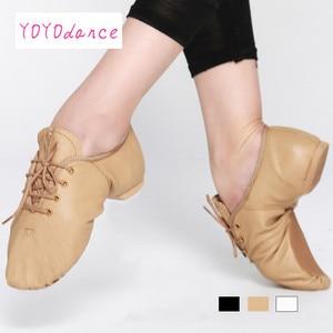 Image 3 - Женские туфли оксфорды из свиной кожи, черные, коричневые танцевальные туфли со шнуровкой для детей и взрослых, танцевальная обувь для джаза