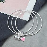 Women Silver Bangle Bracelets S999 Sterling Silver 3 Rings Love Heart Engagement Fashion Chain Charm Girls Bracelet