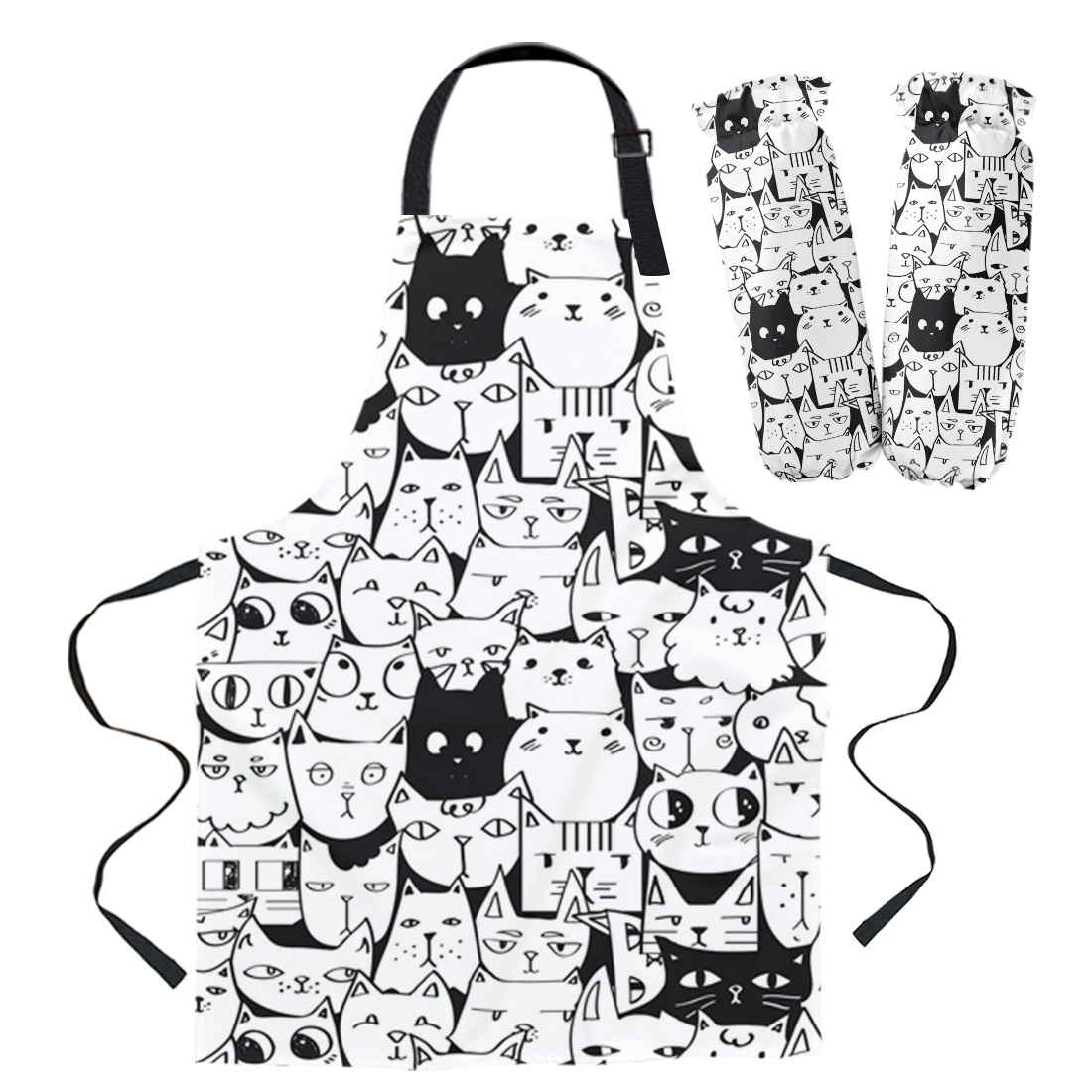 Cat Kitten Animal Black White Apron Cuff Oven Mitts Woman Kid Bibs Home Cooking Baking Coffee Shop Cleaning Kitchen Accessories Aprons Aliexpress