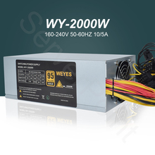 Блок питания 2000 Вт ATX, 2000 Вт, Antminer PSU, Майнинг блок питания для ПК Bitcoin Miner R9 380 390 RX 470/480 RX 570 1060 A6 A7 S5 S7 T9