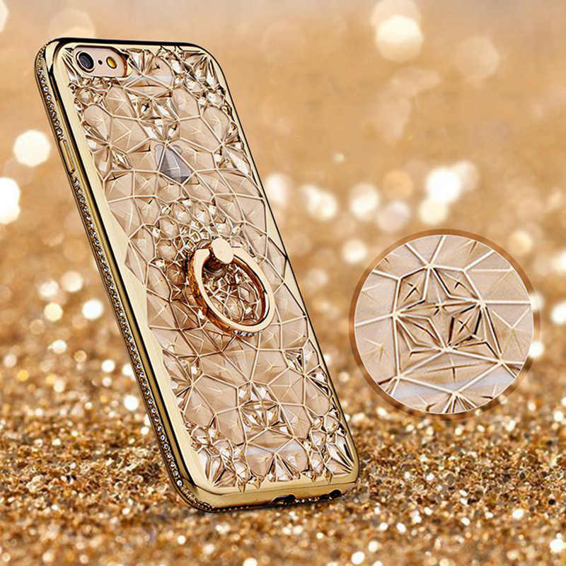 Rhinestone 3D Diamond Holder Transparent Case For Xiaomi Redmi A1 A2 5X 6X Note 4 5 6 6A 7 Pro Lite Glitter Flower Plating Cover