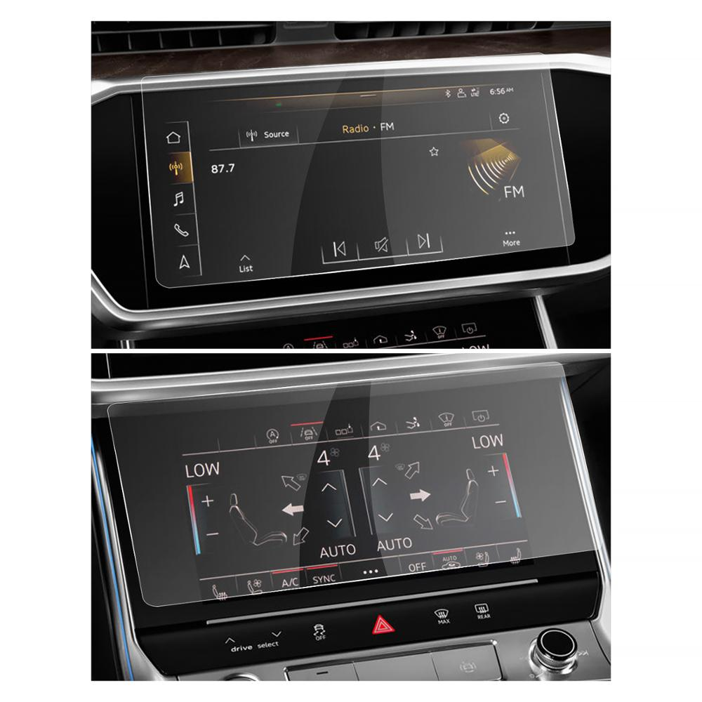 RUIYA Car Navigation Screen Protector For A6 A7 2019 2020 Multimedia System Touch Display Screen Car Interior Accessories 2Pcs