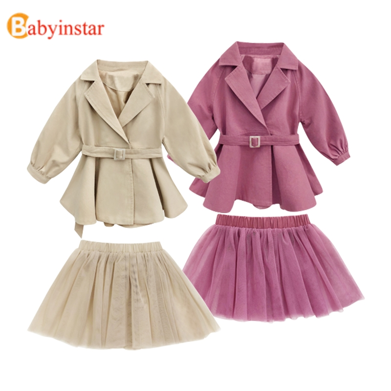Babyinstar New Fashion Kids   Trench   Coats For Girls + Lace Skirt Tutu Suit Set Fall Kids Jacket For Girls Clothing Baby Clothes