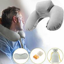 Надувная u образная подушка для шеи путешествий офиса самолета