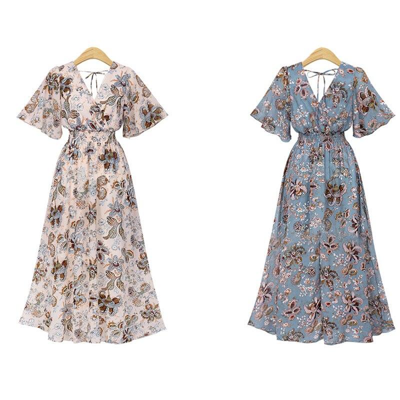 See Through Dress Maxi Dress Summer Short Sleeve V Neck Polyester Long Beach Sundress Ladies Sexy Elegant Print Boho Dresses