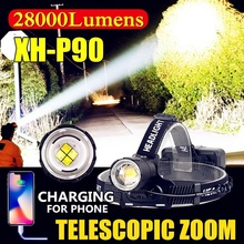 28000LM CREE XH-P90 High Power USB Charging LED Headlights Outdoor Hunting Telescopic Zoom Ultra Bright Head Lamp