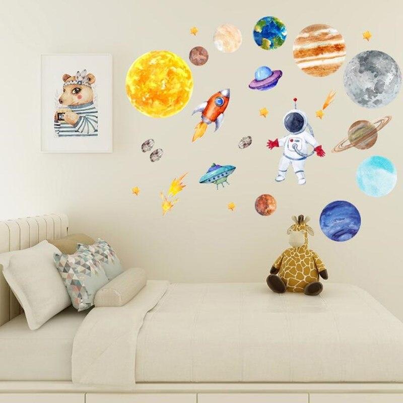 45*120CM papier peint astronaute fusée ovni météorite espace planète thème PVC étanche Stickers muraux pour enfants chambres Art mural