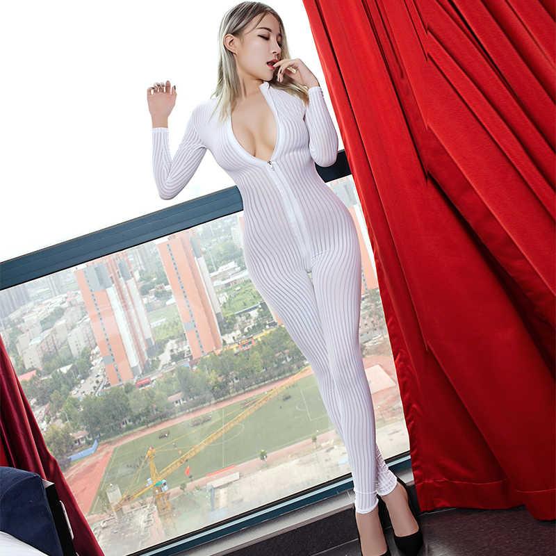 Vrouwen Sexy Gestreepte Sheer Jumpsuit Smooth Fiber 2 Rits Lange Mouw Jumpsuit Anime See Through Super Dunne Hight Elastische Bodysuit