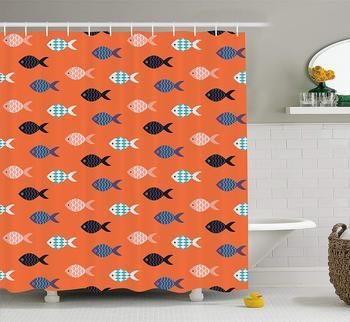 Cortina de ducha de melocotón peces motivo náutico marino criatura subacuática Animal acuario formas adornadas tela decoración de baño