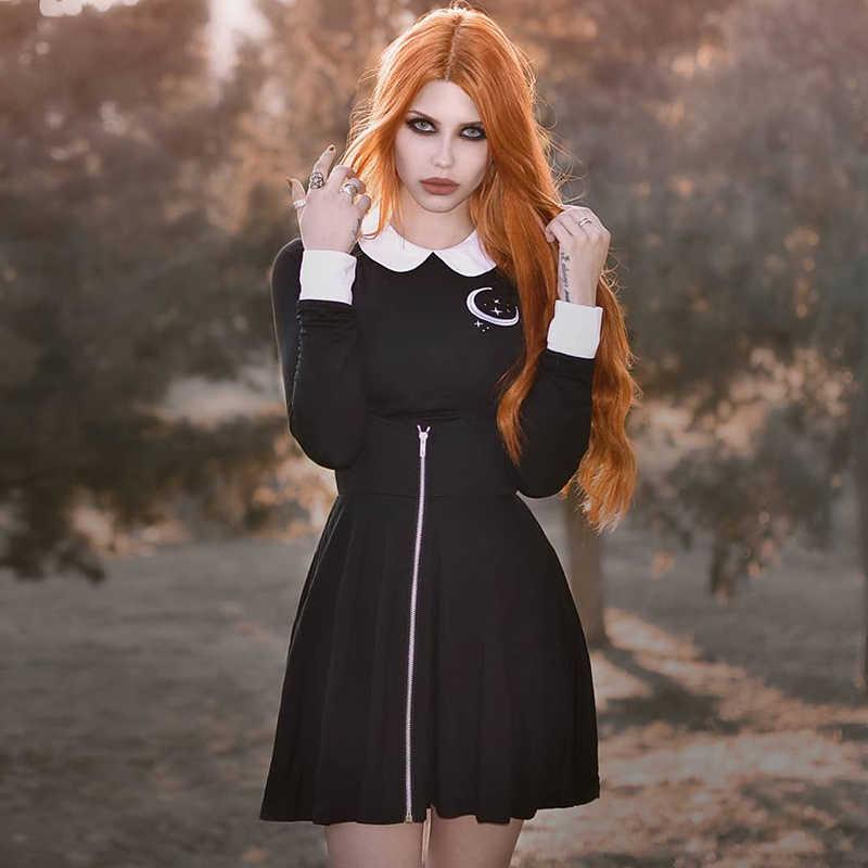 InsGoth ผู้หญิง MINI กระโปรงจีบ Gothic Punk สีดำสูงเอว Slim กระโปรง Streetwear แฟชั่นหญิง Suspender กระโปรง Overalls