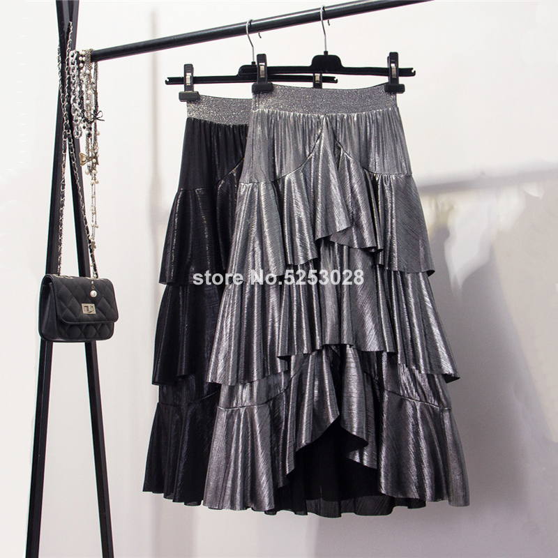 Skirts Womens High Street Fashion Shiny Metallic Asymmetrical Skirt Women High Waist Ruffle Layered Tiered Midi Long Skirt