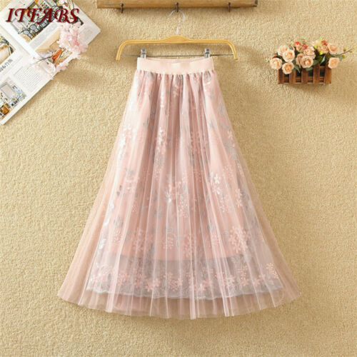 Women Floral Jersey Gypsy Long Full Mesh Skirt Summer Beach Sun Skirt Girl Princess New