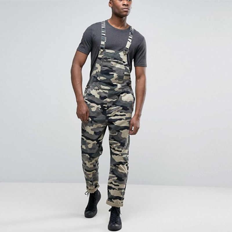Men's Camouflage Jumpsuit Pants Bib Overalls Tracksuit Camouflage Print Jeans Tracksuit Work Uniform Summer Sleeveless Overalls