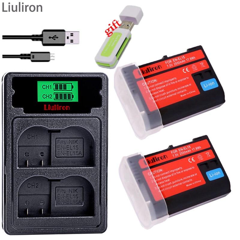 EN-EL15 ENEL15 EN EL15 EL15A Batterie pour Appareil Photo Nikon D500, D600, D610, D750, D7000, D7100, D7200, D800, D850, D810, D810A & 1 V1 Taux L15