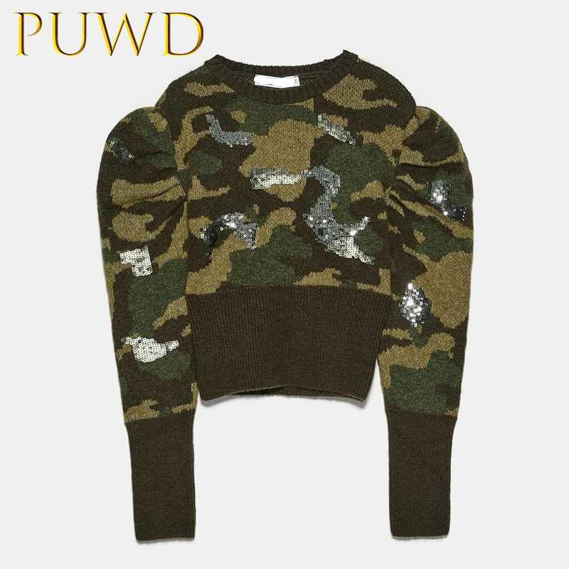 PUWD 2019 Autumn and winter pearl women's printed Short Knitwear bubble sleeve camouflage sweater