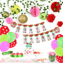 лучшая цена Fruit Party Supplies Decor Watermelon 1 Year Birthday Party Decorations Kids 1-12 Month Photo Banner Lvy Garland Paper Lanterns