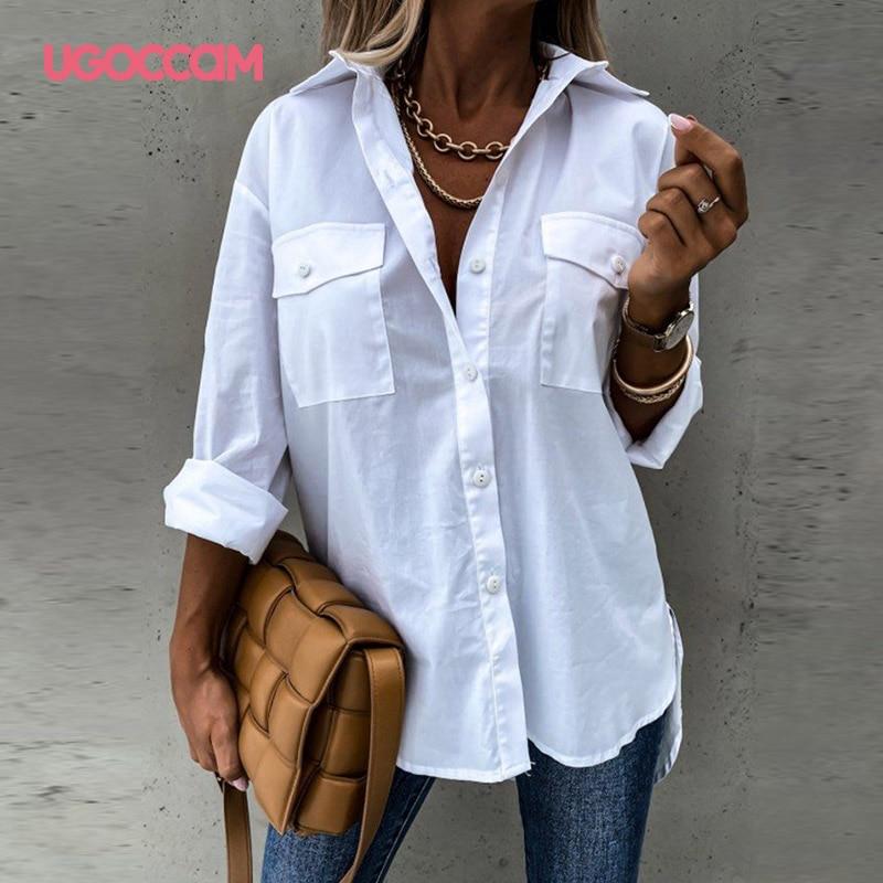 UGOCCAM Frauen Blusen Casual Weiß Blusen Langarm Büro Shirts Drehen Unten Kragen Feste Shirt Damen Plus Größe Tunika Top plu