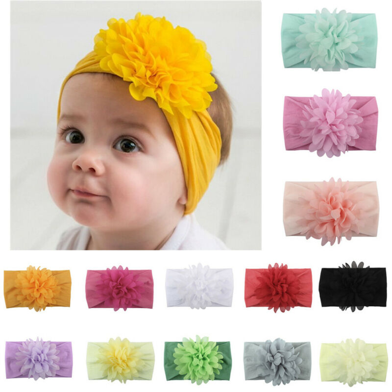 Newborn Infant Kids Baby Girls Cotton Blend Bow Hairband Flower Headband Sweet Turban Knot Head Wrap Headwear Hair Accessories