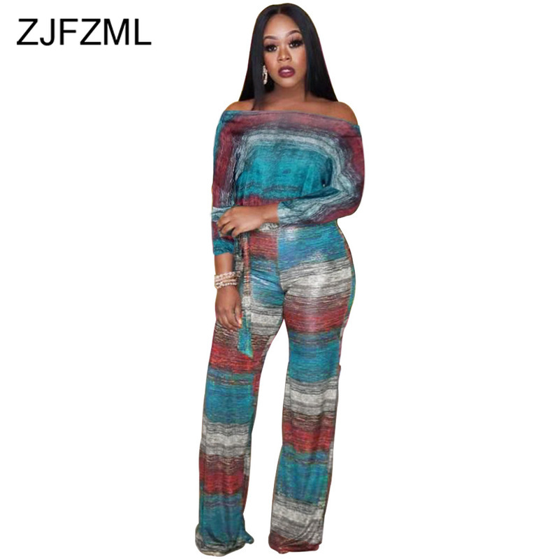 Tie Dye Stripes Sexy 2 Piece Set Sweatsuit Women Slash Neck Long Sleeve Tie Up Tshirt And High Waist Wide Leg Pants Club Outfits