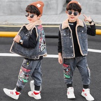 Autumn and Winter Thicken Warm Kids Boys Two Piece Sets Plus Velvet Denim Vests+Printed Jeans Children Boys Outfits 4 13T