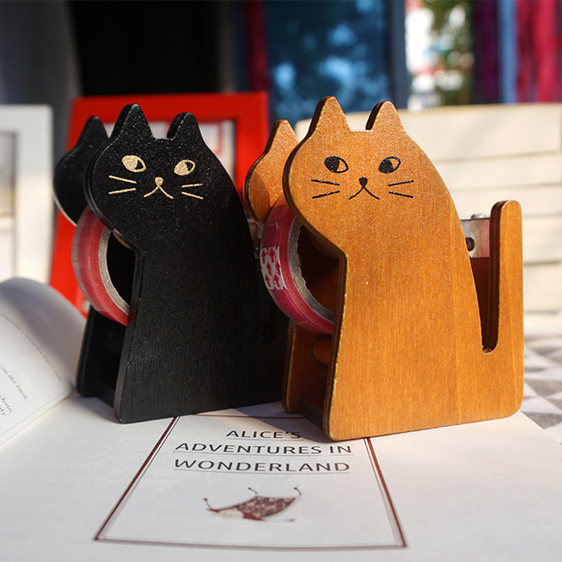 2 Pcs/set Kawaii Cat Shape Wooden Tape Dispenser Tape Dispenser Cute Tape Cutter Tool School Supplies Stationery High Quality