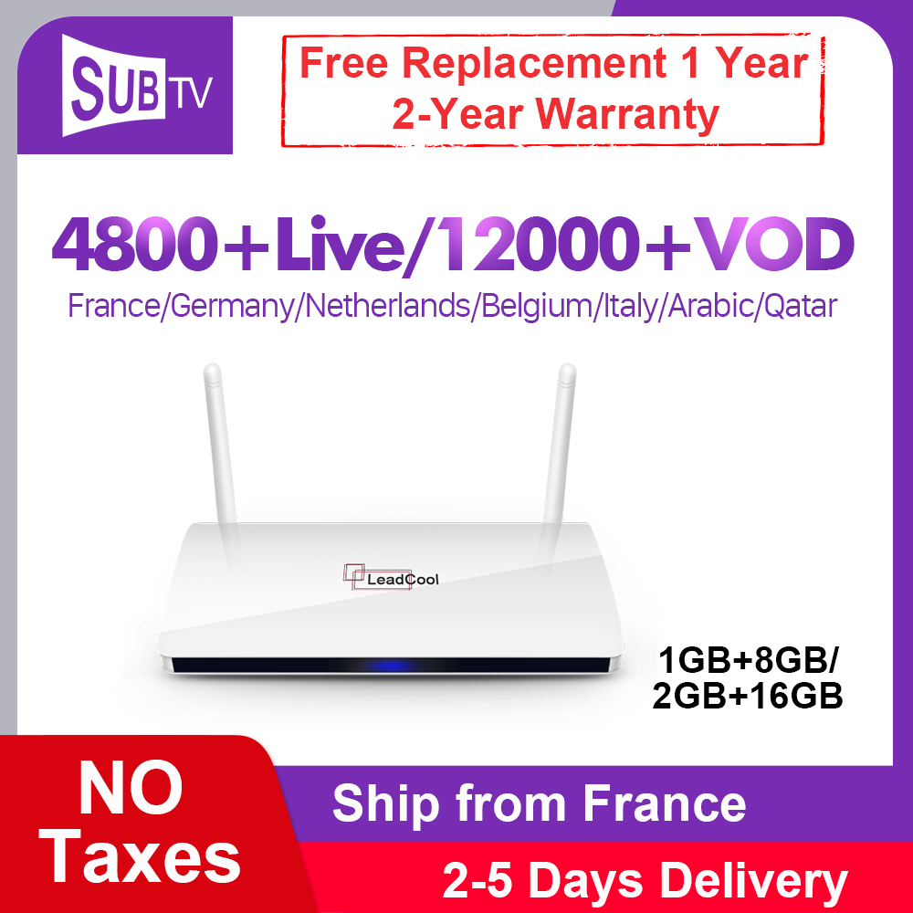IPTV France Box Full HD SUBTV Leadcool Box Android 8.1 lecteur multimédia en Streaming IPTV français espagne belgique pays-bas arabe IP TV