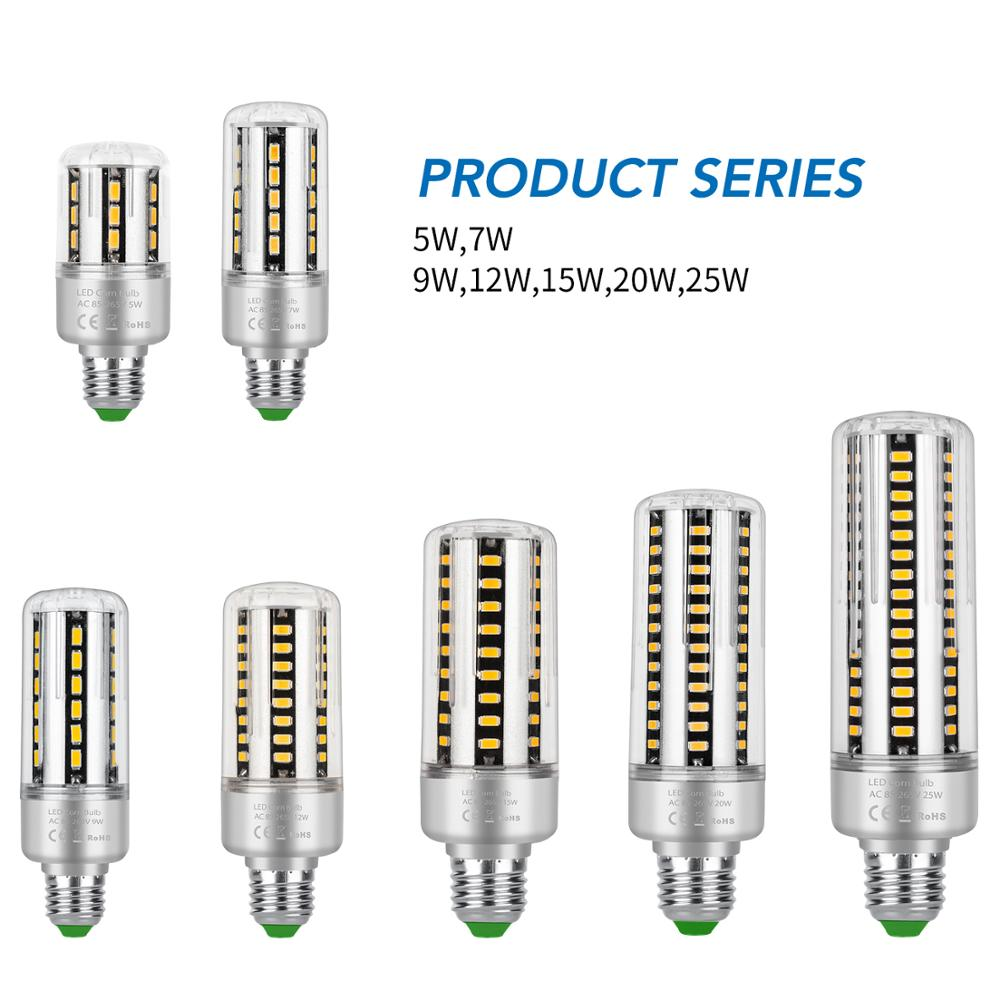 Bombilla Led E27, 25W, luces de mazorca E14, lámpara LED AC 85-265V, iluminación interior, bombilla LED de 220V, luz empotrada SMD 5736, luz muy brillante Novedosas Bombillas E27, bombilla LED de 220 V, 4,5 W, 8 W, 220 V, lámpara LED E27 de alta calidad