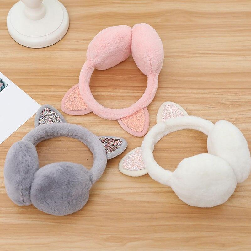 Women Fashion Cat Warm Faux Fur Fluffy Earmuffs Winter Earwarmers Novelty Cute Headband Ears Soft Winter Accessories Earmuffs