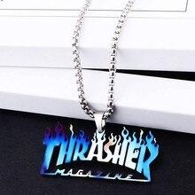 Улица в стиле хип-хоп, в стиле «хип-хоп» кулон футболка с надписью «Thrasher» яркое ожерелье может быть погашен футболка с надписью «Thrasher», ожере...