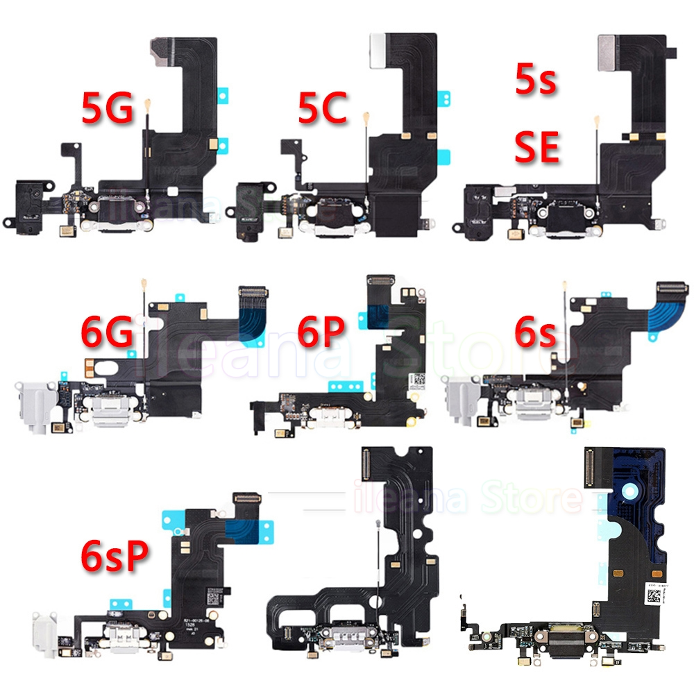 Bottom <font><b>USB</b></font> Port Charger Connector Dock Charging Flex Cable For iPhone 5S SE <font><b>5</b></font> <font><b>6</b></font> 6s Plus Dock Connector With Mic Flex Replacement image