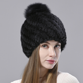 Natural Mink Fur Hats for Women Knitted Beanies Woolen Lining Fox Fur Pompom Warm Female Winter Hat image