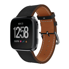 Yayuu Smart Watch Watchbands Carved Belt Genuine Leather Strap Bracelet Pin Buckle Spare For Fitbit Blzae/Versa 1/2 Band