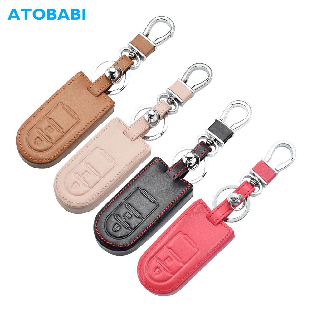 Leather Car Key Case For Toyota Passo Pixis Joy Daihatsu TANTO LA600S Perodua Smart Keychain Holder Remote Control Protect Cover
