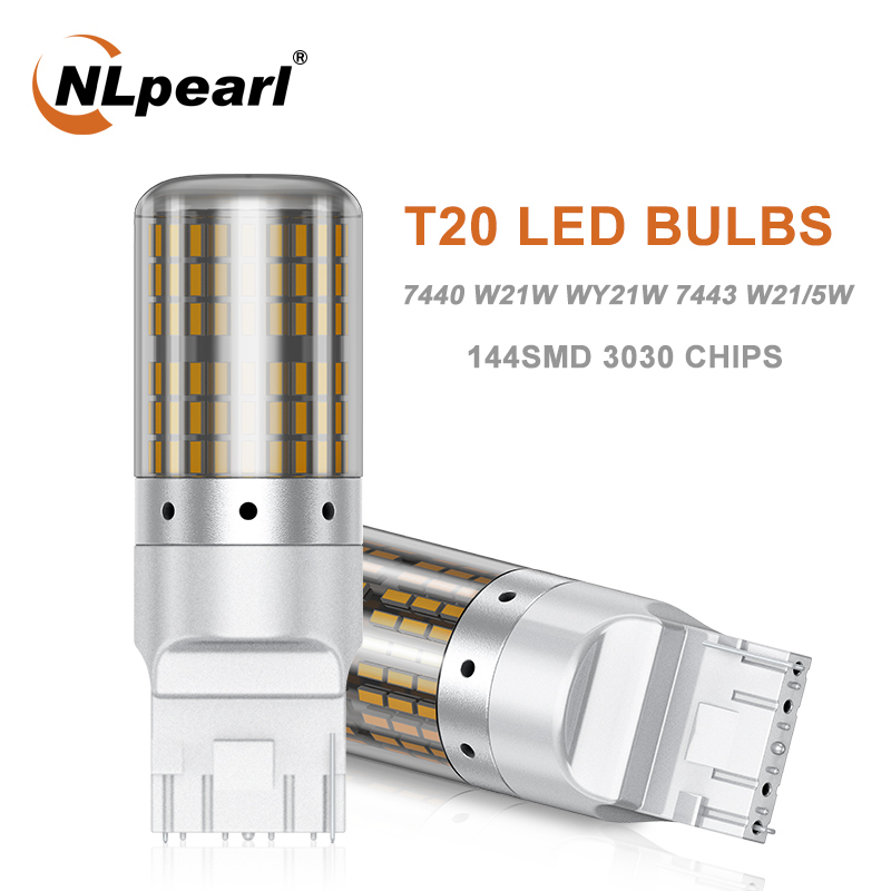 NLpearl 1x Signal Lamp 7440 W21W Led Canbus Turn Signal Lights 144SMD T20 W21/5W 7443 W21W Led Car Brake Reversing Lamp 12V image