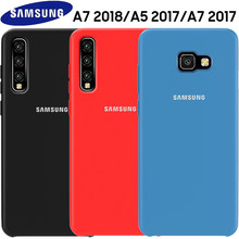 SAMSUNG A5 2017 Case Original Official Soft Silicone Cover Samsung Galaxy A3 A5 A7 2017 A6 A8 plus A7 A9 2018 Shockproof Case(China)