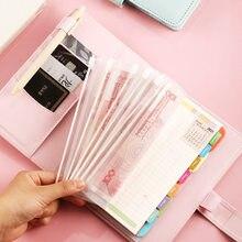 A6 caderno binder planejador de orçamento organizador dinheiro sistema envelope de couro do plutônio com 10 pçs bolsos zíper etiqueta adesivos