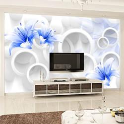Простые 3D обои настенная большая гостиная телевизор задний фон на стену бесшовные нетканые обои синие розы