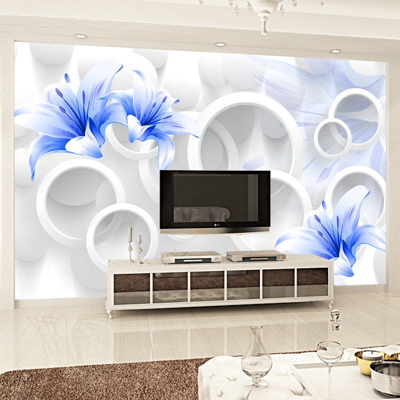 Simple 3D Wallpaper Mural Large Living Room Television Background Wall Seamless Non-woven Wallpaper Blue Roses